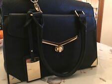 Black Leather Style Handbag By Dune
