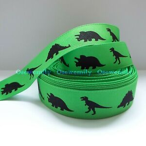 Per Metre - Dinosaurs Green 22mm Printed Grosgrain Ribbon / Party Cake/ Bow