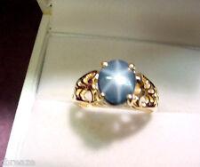 MEDIUM DARK ROYAL BLUE STAR SAPPHIRE 2.16 CT  10K GOLD RING