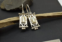 sterling silver rectangle earrings long dangling and mother of pearl