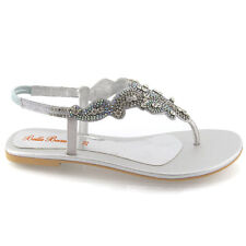 Womens Flat Diamante Toe Post Ladies Sparkly Dressy Party Sandals Size 3-9