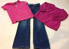 Pretty Gap Kids Size 10 Years Pink Shirts & Boot Cut Jeans Outfit Lot