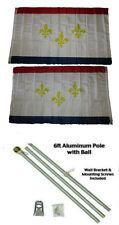 3x5 City of New Orleans Louisiana 2ply Flag Aluminum Pole Kit Ball Top 3'x5'