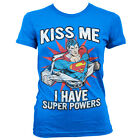 T-shirt FEMME Bleu Logo SUPERMAN Taille S M L Girlie dc comics marvel supergirl