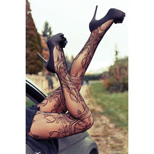 Fashion Floral Pattern Sexy Fishnet Pantyhose Women Tights Stockings One Size