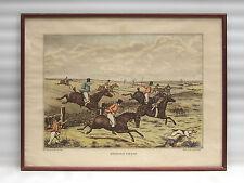 LITHOGRAPHIE ancienne encadrée, Steeple Chase, John Paul, chevaux, cavaliers