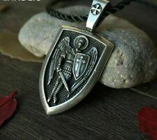 Men Necklace Archangel St.Michael Saint Shield Protection Charm Orhodox Pendant