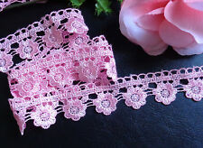 1 1/8 inch wide pink flower lace trim lace trimmings tape selling by the yard