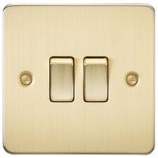 Knightsbridge Flat Plate 10A 2G 2 Way Switch Brushed Brass x1