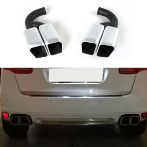Fit for Porsche Cayenne V6 11-14 Square Exhaust Tips Muffler End Stainless Steel