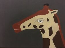 giraffe acrylic painting 12 year old artist 11 by 14 depth is 1 3/4 back shot to