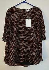 Witchery Print Flutter Sleeve Top Size 14 RRP$119.95