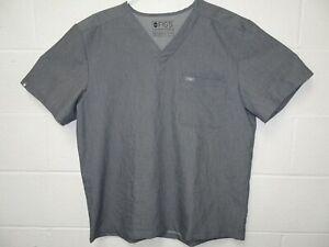 Figs Technical Collection 2 Pocket Scrub Top Men Tri Blend XL Graphite Gray