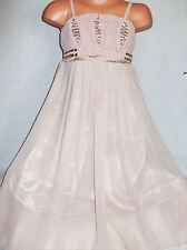 GIRLS BEIGE MINK SPARKLING BEAD SEQUIN TRIM CHIFFON MIDI PARTY DRESS age 3-4