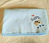 Koala Baby My Puppy Baby Blanket Soft Blue Fleece with Paw Print Back 40 x 30