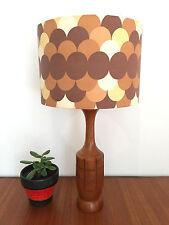 Mid century vintage retro 1960s 1970s teak lamp and vintage lampshade