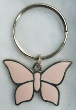 NEW! PINK BUTTERFLY Summer Nature Key Chain Ring Silver Tone