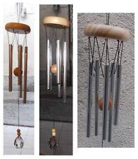 Campana a vento 5 canne tubi in metallo pendente cristallo artigianato orientale