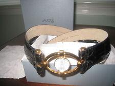 NEW Lalique Black Alligator leather Gold Crystal Belt SZ 85 34 Paris France