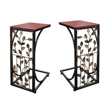 Set of 2 Leaf Side Sofa End Table - Wood Top & Metal Frame Couch TV Tray