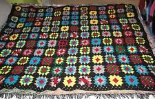 """vintage classic wool granny square afghan 70"""" x 56"""""""