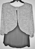 Free 2 Luv Black Ivory Semi Sheer Top Blouse Overlay Backside Plus Size 1X NWT