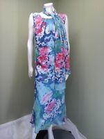 Joanna Hope Women's Blue Floral Print Dress W/ Matching Scarf~ Size 20