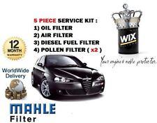 ALFA 147 1.9 JTD 2003 -- & GT Olio Aria Carburante Polline Filtro Servizio Kit (5 X FILTRI)
