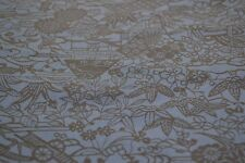 Japanese Silk Fabric Blue with Black Floral Pattern 1382