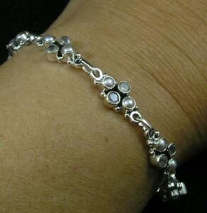"""Solid .925 Sterling Silver White Pearl Faceted White Topaz Bracelet 8"""" + Long"""