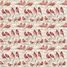 WINTER CARDINALS BIRDS CHRISTMAS FABRIC