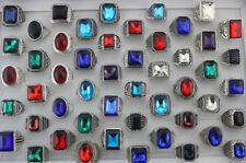 6pcs Men's Jewelry Wholesale Mixed Lots Colorful Big Glass Rings Fashion Gifts