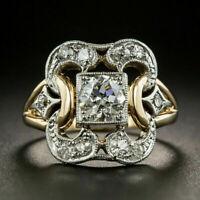 Luxury Two Tone 925 Silver Rings Women White Sapphire Wedding Ring Size 6-10