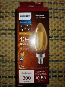 Vintage Edison Style Philips Dimmable LED Candelabra 4.5W Light Bulb 40W Equival