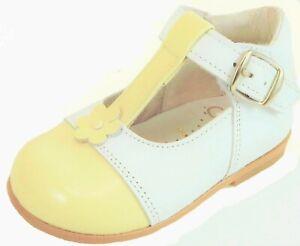 DE OSU-FARO - Baby Girls White & Lemon Cream Dress Shoes - European Size 18-23