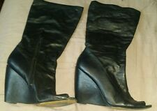 NINEWEST Leather Peep Toe Black Womens Boots Wedge Heel 9M B43