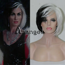 Deluxe Cruella Deville Wig Black White Short Voluminous Bob Wigs Synthetic Hair
