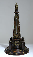 Grand Tour Rosewood Carved & Bronze Obelisk Column Original Thermometer C. 1900