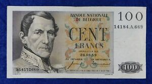 1959 Belgium 100 Francs Currency Banknote