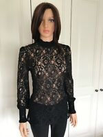 Oasis Black Lace Blouse Size XS Long Sleeves Back Button Gathered Cuffs V Good