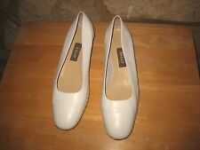 Bally Ladies Size 5.5 White Leather Wedge Slip on Court Shoes