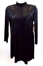 KC Spencer Women's Dress Size 16 Black Sparkle Long Sleeves Polyester Jersey NWT
