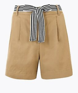 M&S Size 18 Ladies Summer Shorts Belted Chino Beige Natural Stretch Cotton NWT