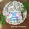 DecoWords Mini SIGN Plaque BEST GREAT GRANDMA Wood Ornament Family Relative USA