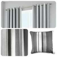 Fusion WHITWORTH STRIPE Grey 100% Cotton Ready Made Eyelet Curtains & Cushions