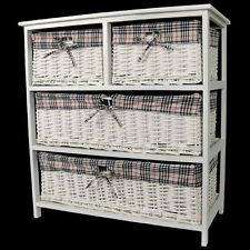 SHABBY CHIC CHEST OF 4 DRAWERS WICKER BASKET STORAGE UNIT WHITE REDUCED!!
