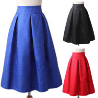 Women Retro Skirt Elegant Jacquard Midi Pleated A-line Knee-Length Spring Skirts