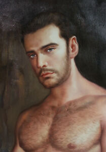 "Artwork nude male original oil painting on canvas handsome men signed 24""x36"""