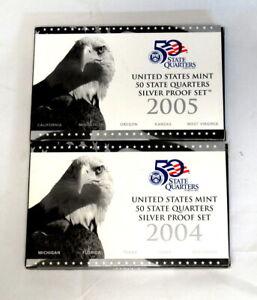 2004 & 2005 (2) United States U.S. Mint SILVER PROOF QUARTER 5 Coin SETS + COA's