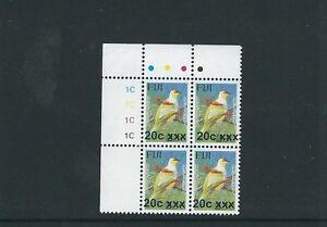 FIJI 2009-10 BIRD PROVISIONAL (Sc 1197b 20c on 23c) VF MNH plate block of 4